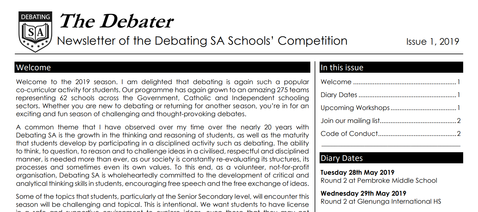 The Debater: Issue 1, 2019